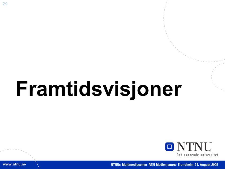 29 Framtidsvisjoner NTNUs Multimediesenter REN Medlemsmøte Trondheim 31. August 2005