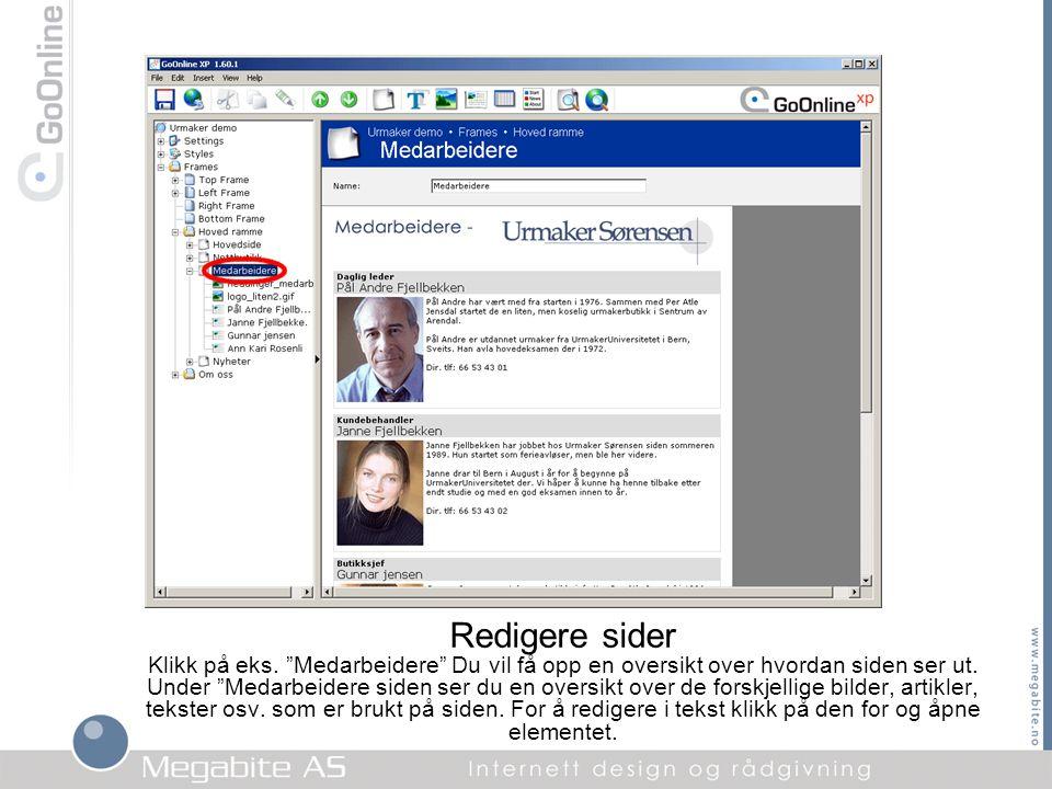 """Redigere sider Klikk på eks. """"Medarbeidere"""" Du vil få opp en oversikt over hvordan siden ser ut. Under """"Medarbeidere siden ser du en oversikt over de"""