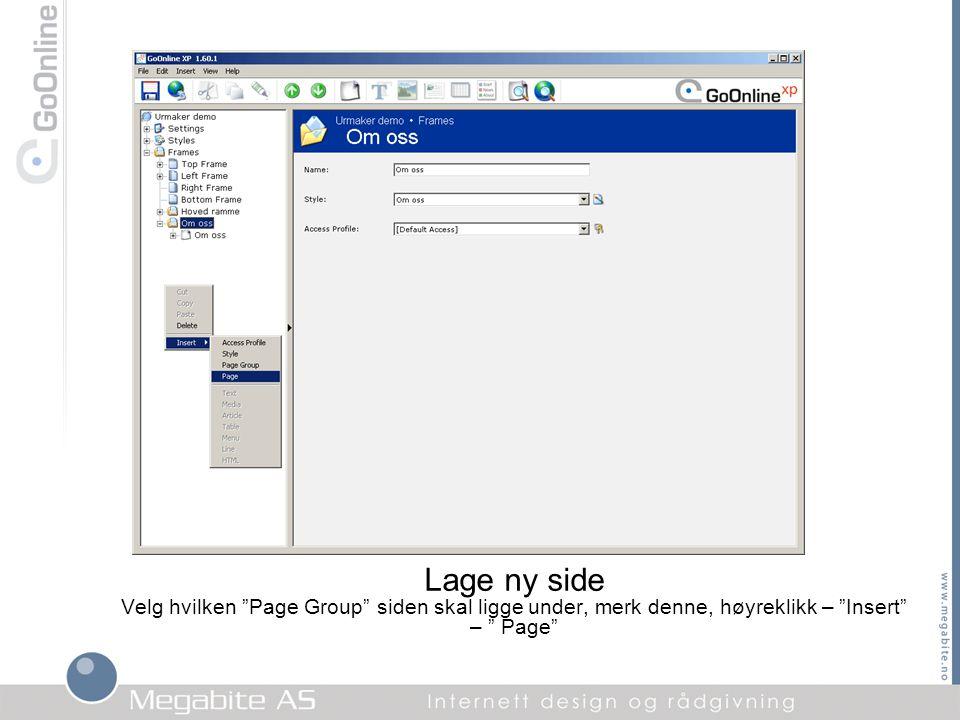 """Lage ny side Velg hvilken """"Page Group"""" siden skal ligge under, merk denne, høyreklikk – """"Insert"""" – """" Page"""""""
