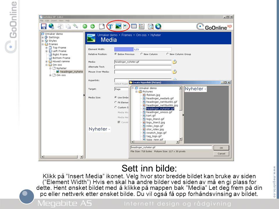 """Sett inn bilde: Klikk på """"Insert Media"""" ikonet. Velg hvor stor bredde bildet kan bruke av siden (""""Element Width"""") Hvis en skal ha andre bilder ved sid"""