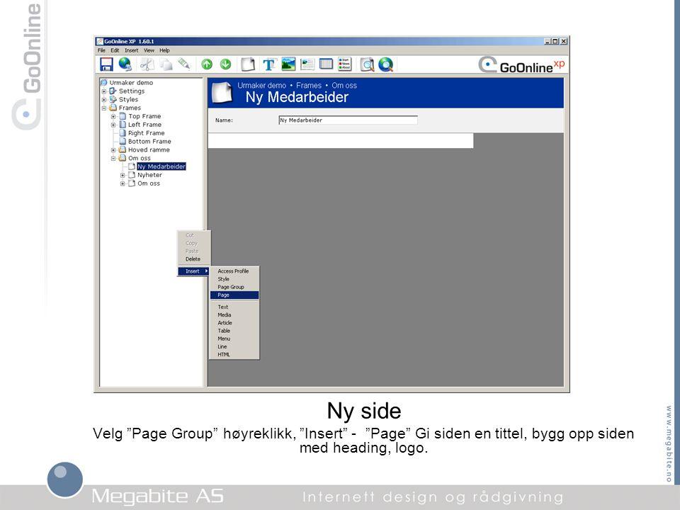 """Ny side Velg """"Page Group"""" høyreklikk, """"Insert"""" - """"Page"""" Gi siden en tittel, bygg opp siden med heading, logo."""