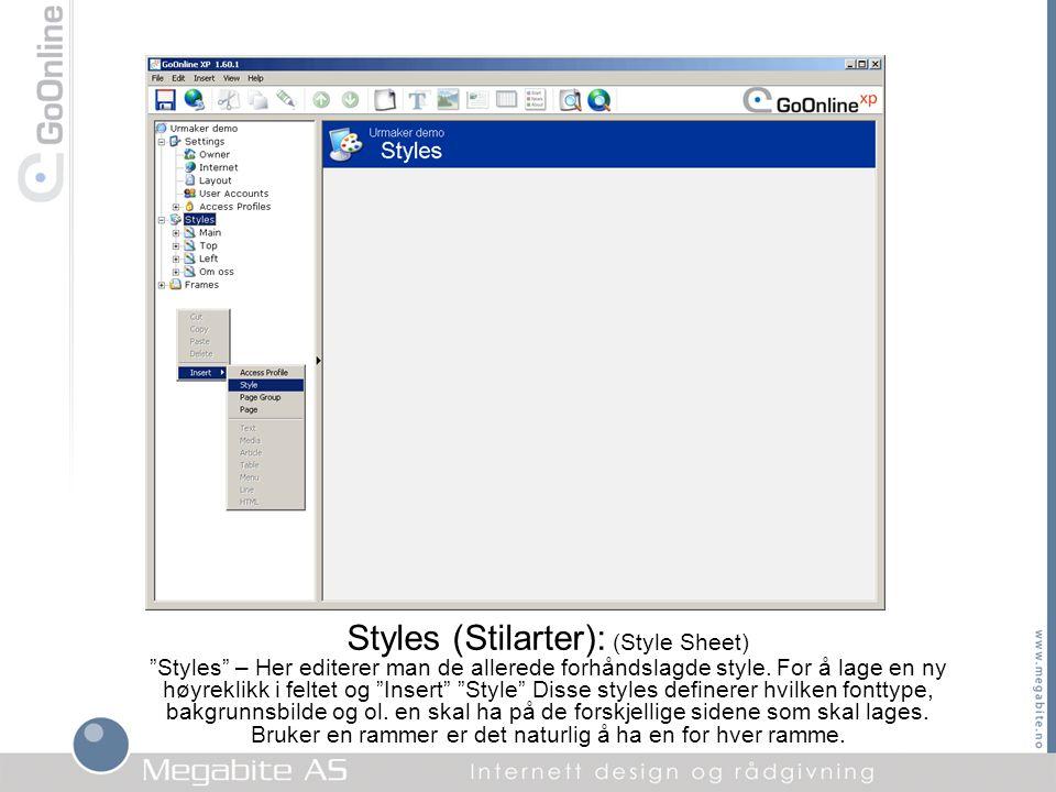 """Styles (Stilarter): (Style Sheet) """"Styles"""" – Her editerer man de allerede forhåndslagde style. For å lage en ny høyreklikk i feltet og """"Insert"""" """"Style"""