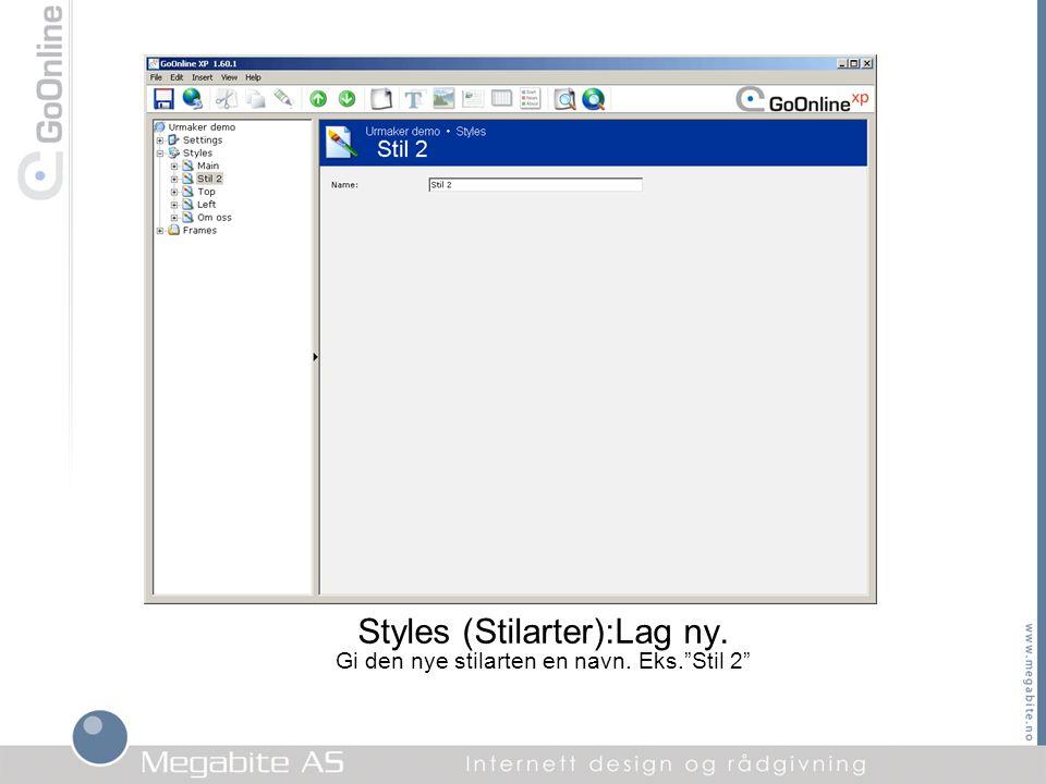 """Styles (Stilarter):Lag ny. Gi den nye stilarten en navn. Eks.""""Stil 2"""""""