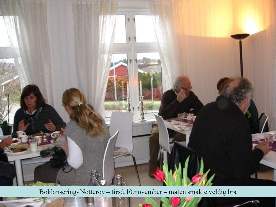 Boklansering- Nøtterøy – tirsd.10.november – maten smakte veldig bra
