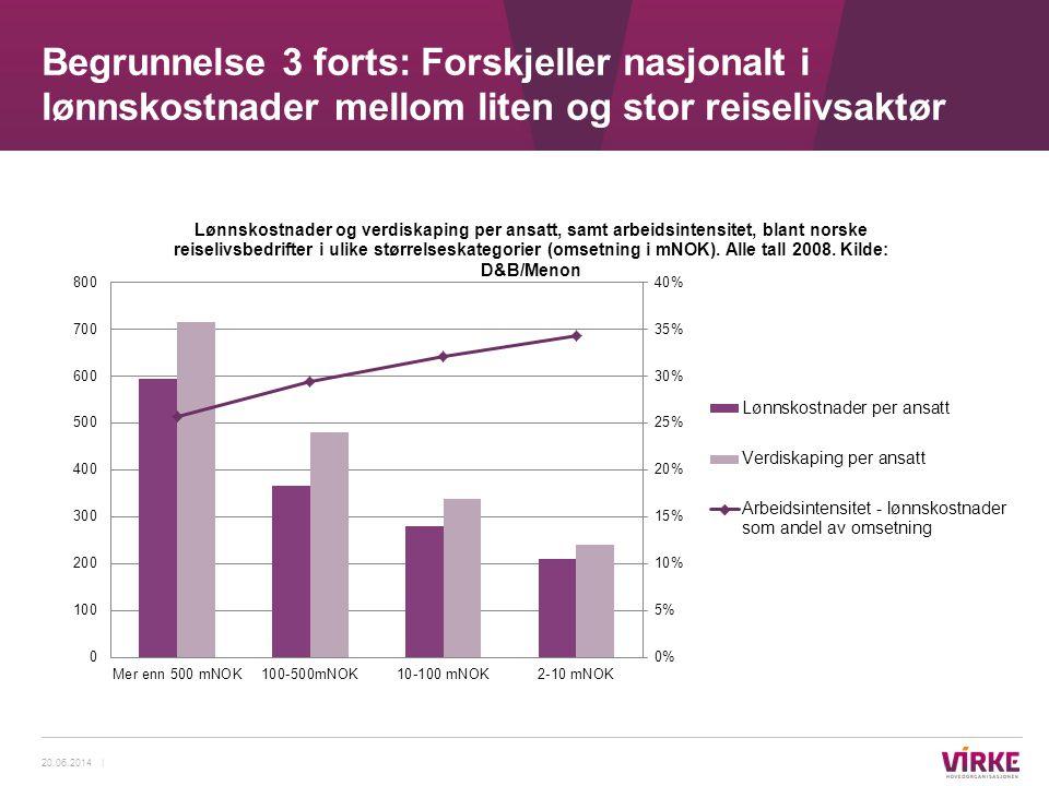 Begrunnelse 3 forts: Forskjeller nasjonalt i lønnskostnader mellom liten og stor reiselivsaktør 20.06.2014 |