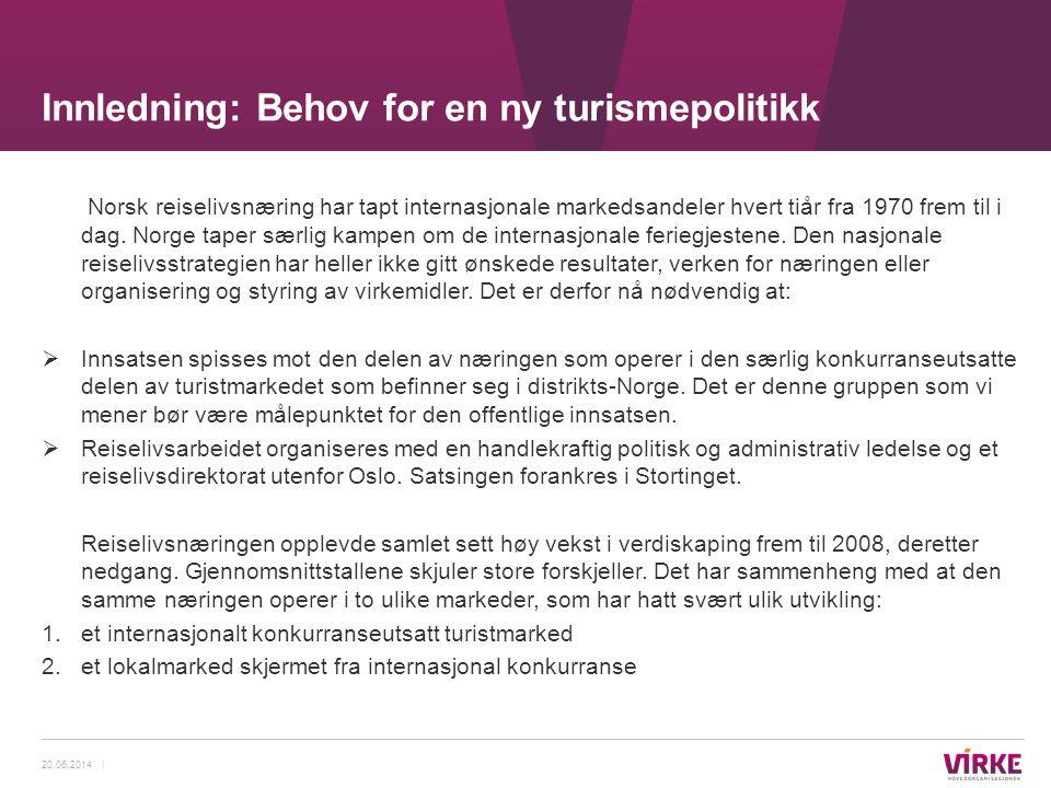 Norsk reiselivsnæring har tapt internasjonale markedsandeler hvert tiår fra 1970 frem til i dag. Norge taper særlig kampen om de internasjonale ferieg