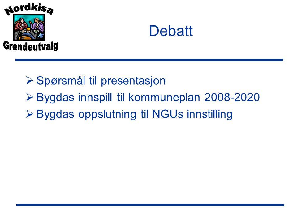 Debatt  Spørsmål til presentasjon  Bygdas innspill til kommuneplan 2008-2020  Bygdas oppslutning til NGUs innstilling