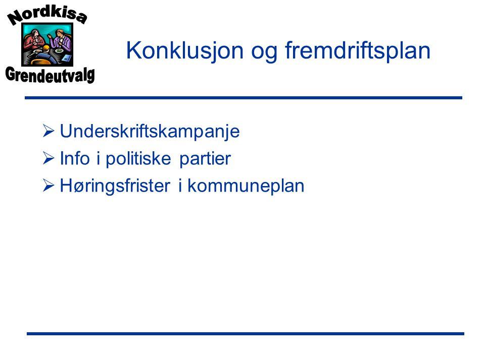 Konklusjon og fremdriftsplan  Underskriftskampanje  Info i politiske partier  Høringsfrister i kommuneplan