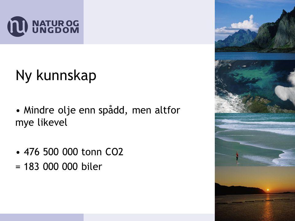 Ny kunnskap • Mindre olje enn spådd, men altfor mye likevel • 476 500 000 tonn CO2 = 183 000 000 biler
