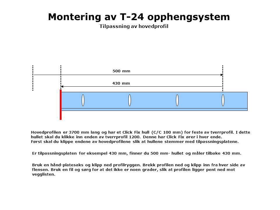 Hovedprofilen er 3700 mm lang og har et Click Fix hull (C/C 100 mm) for feste av tverrprofil.