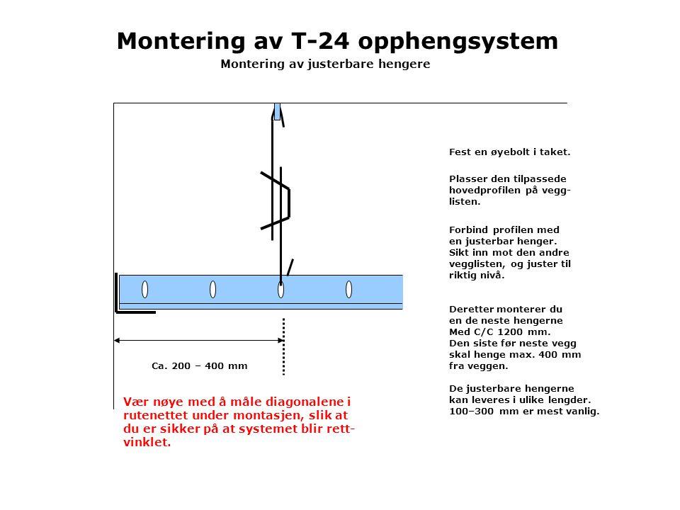 Ca.200 – 400 mm Montering av justerbare hengere Fest en øyebolt i taket.