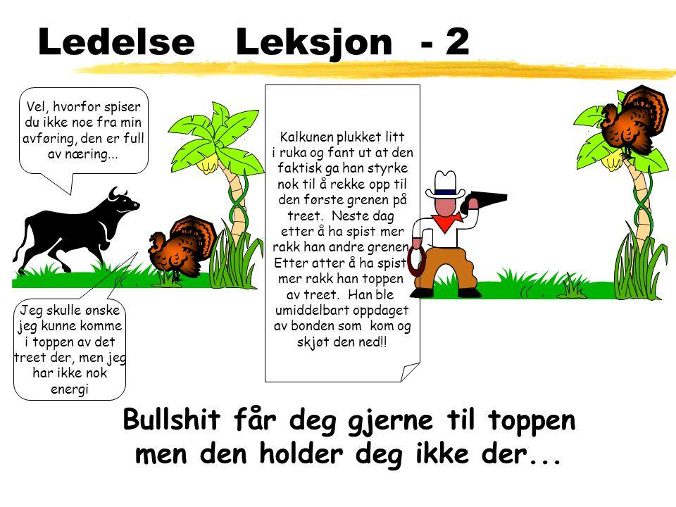 Ledelse Leksjon - 2 Jeg skulle ønske jeg kunne komme i toppen av det treet der, men jeg har ikke nok energi Vel, hvorfor spiser du ikke noe fra min av