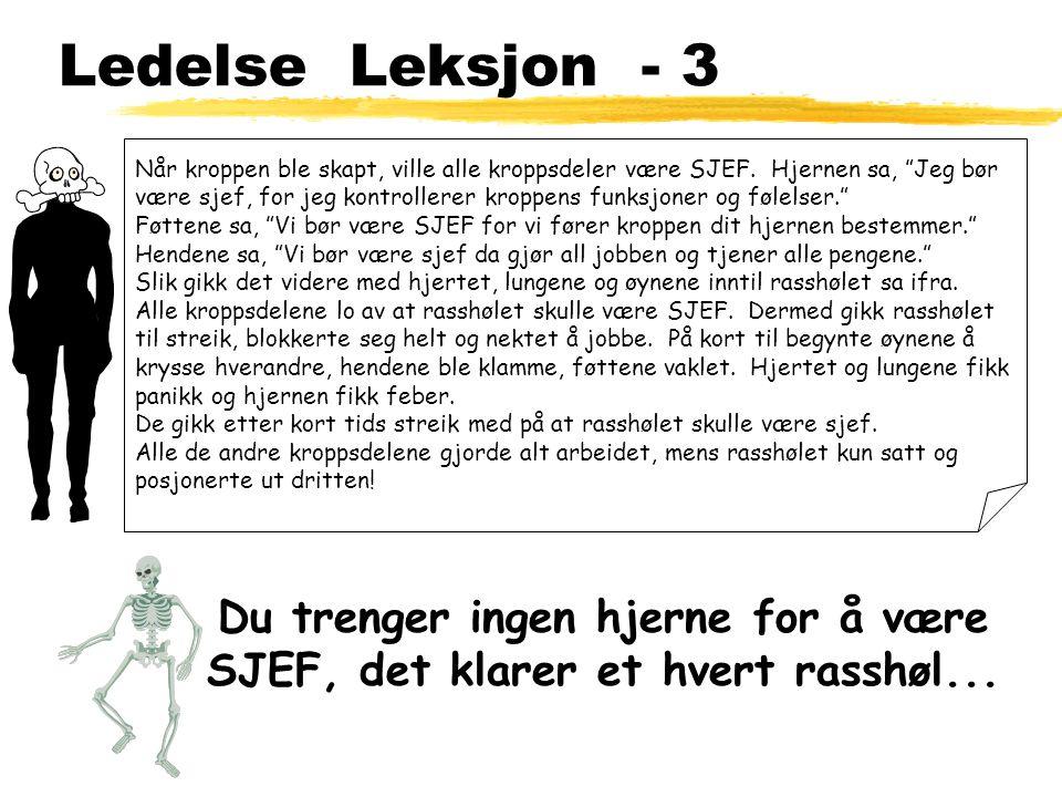Ledelse Leksjon - 3 Når kroppen ble skapt, ville alle kroppsdeler være SJEF.