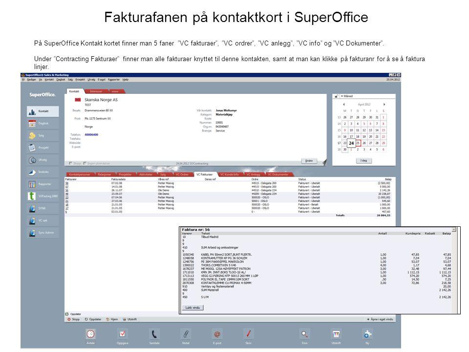 Fakturafanen på kontaktkort i SuperOffice På SuperOffice Kontakt kortet finner man 5 faner VC fakturaer , VC ordrer , VC anlegg , VC info og VC Dokumenter .