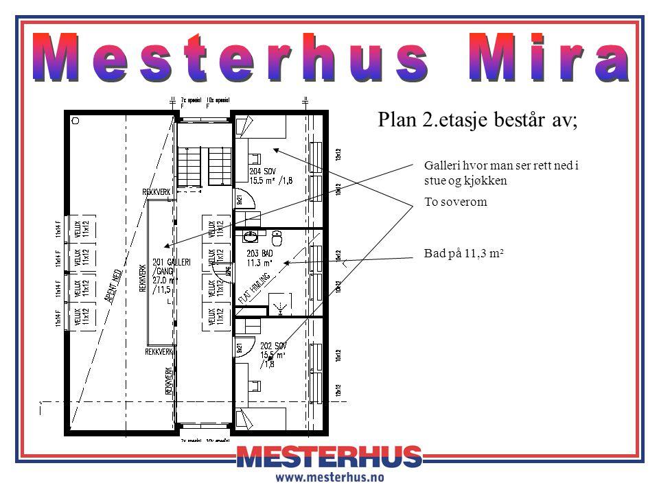 Plan 2.etasje består av; Galleri hvor man ser rett ned i stue og kjøkken Bad på 11,3 m² To soverom