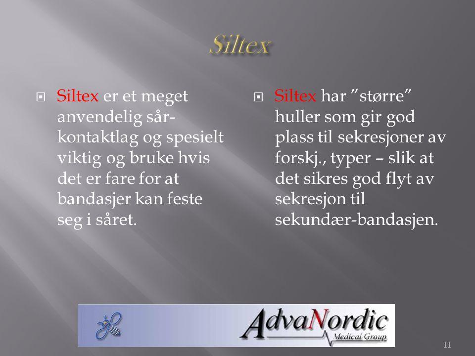 """ Siltex er et meget anvendelig sår- kontaktlag og spesielt viktig og bruke hvis det er fare for at bandasjer kan feste seg i såret.  Siltex har """"stø"""