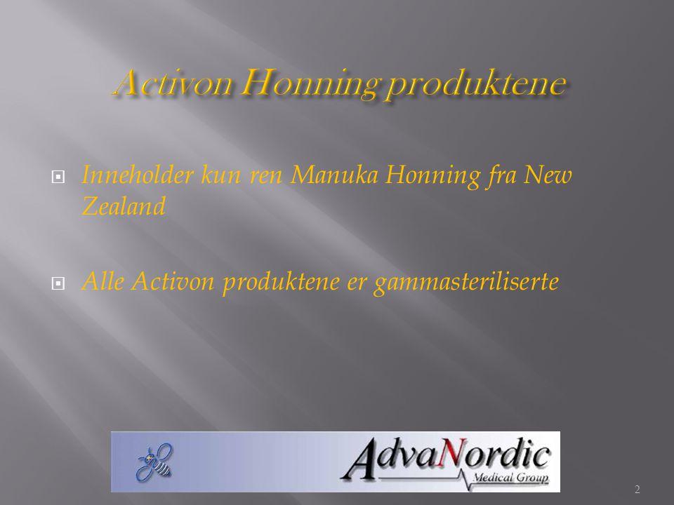  Inneholder kun ren Manuka Honning fra New Zealand  Alle Activon produktene er gammasteriliserte 2