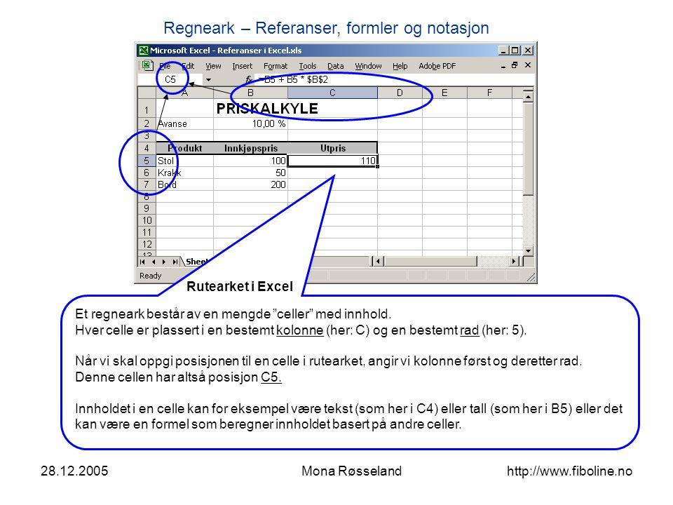 """Regneark – Referanser, formler og notasjon 28.12.2005Mona Røsseland http://www.fiboline.no Et regneark består av en mengde """"celler"""" med innhold. Hver"""