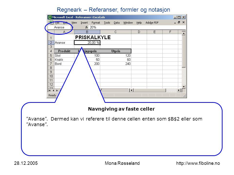 Regneark – Referanser, formler og notasjon 28.12.2005Mona Røsseland http://www.fiboline.no Navngiving av faste celler Vi endrer formelen fra $B$2 til Avanse, og resultatet er det samme…