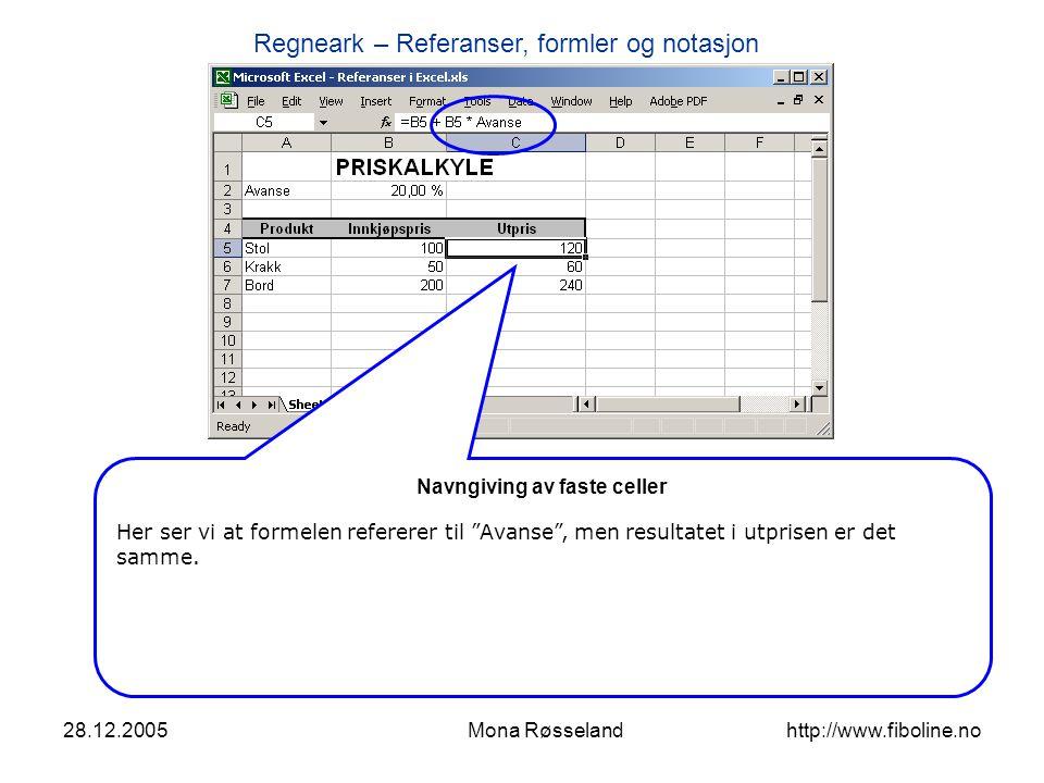 Regneark – Referanser, formler og notasjon 28.12.2005Mona Røsseland http://www.fiboline.no Oppsummering av notasjon i formler - Formler begynner alltid med = tegn.