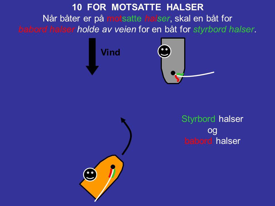 Vind 11 FOR SAMME HALSER, OVERLAPPET Når båter er for samme halser og overlappet, skal en lo båt holde av veien for en le båt. Styrbord halser og styr