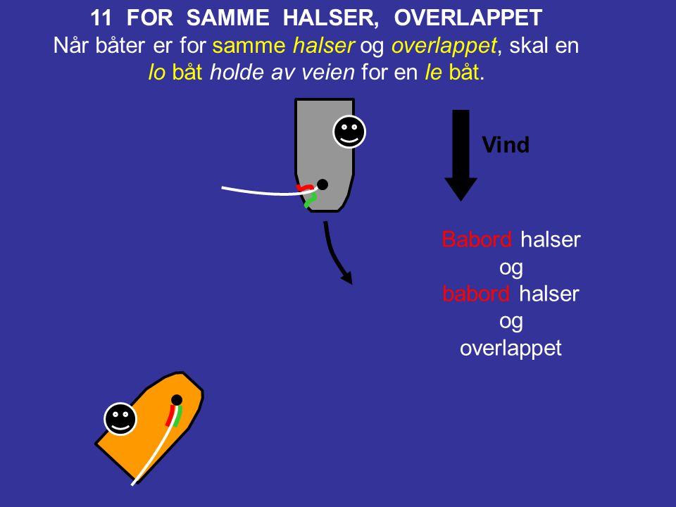 Vind Styrbord halser og babord halser 10 FOR MOTSATTE HALSER Når båter er på motsatte halser, skal en båt for babord halser holde av veien for en båt
