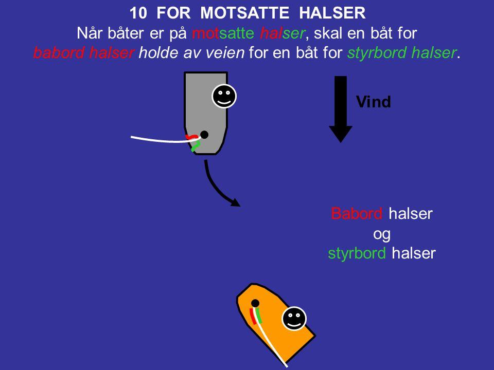 Vind 11 FOR SAMME HALSER, OVERLAPPET Når båter er for samme halser og overlappet, skal en lo båt holde av veien for en le båt. Babord halser og babord