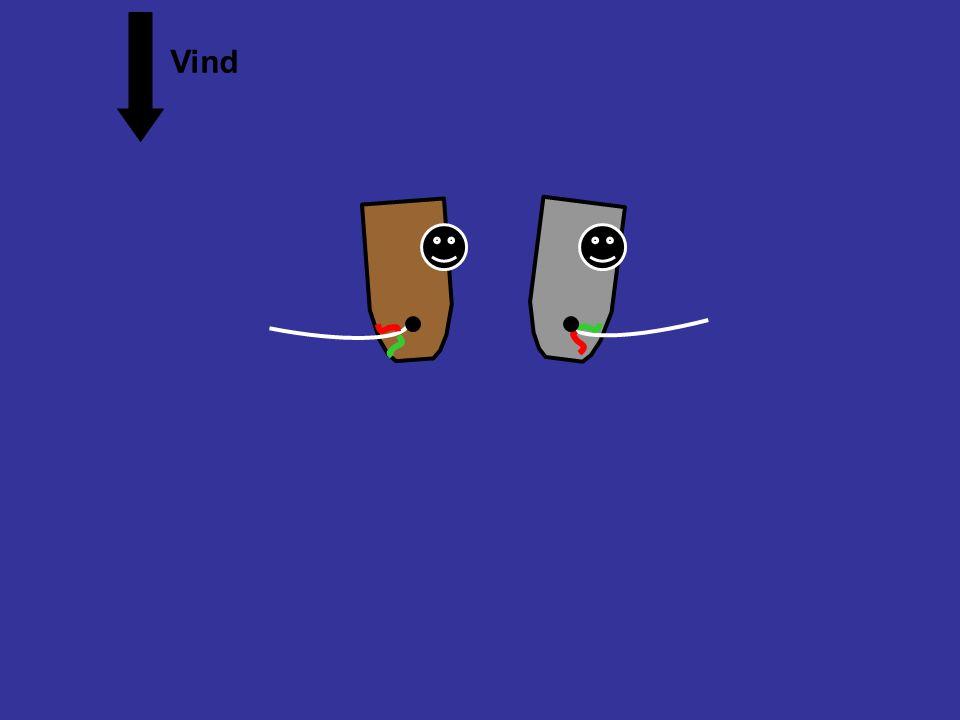 Overlappet, babord halser og babord halser Vind Grå båt er lei av å holde av veien. Han vil heller jibbe til styrbord halser. Animasjon regel 16.1