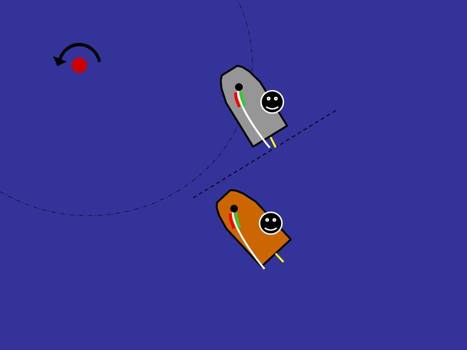 Grå båt bryter overlappen like før sonen ! Regel 18.2(b) (i det øyeblikk …) Yeah!