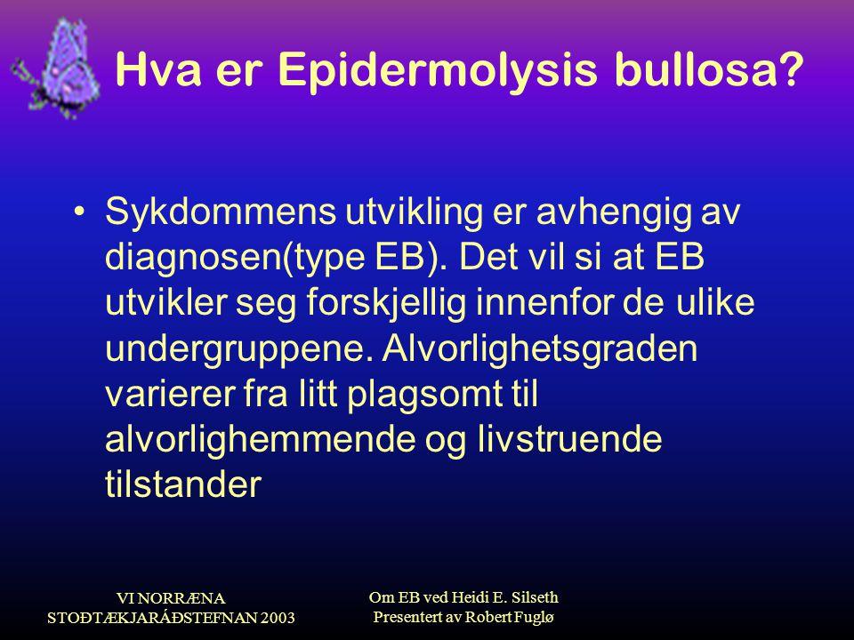 VI NORRÆNA STOÐTÆKJARÁÐSTEFNAN 2003 Om EB ved Heidi E. Silseth Presentert av Robert Fuglø Hva er Epidermolysis bullosa? •Sykdommens utvikling er avhen