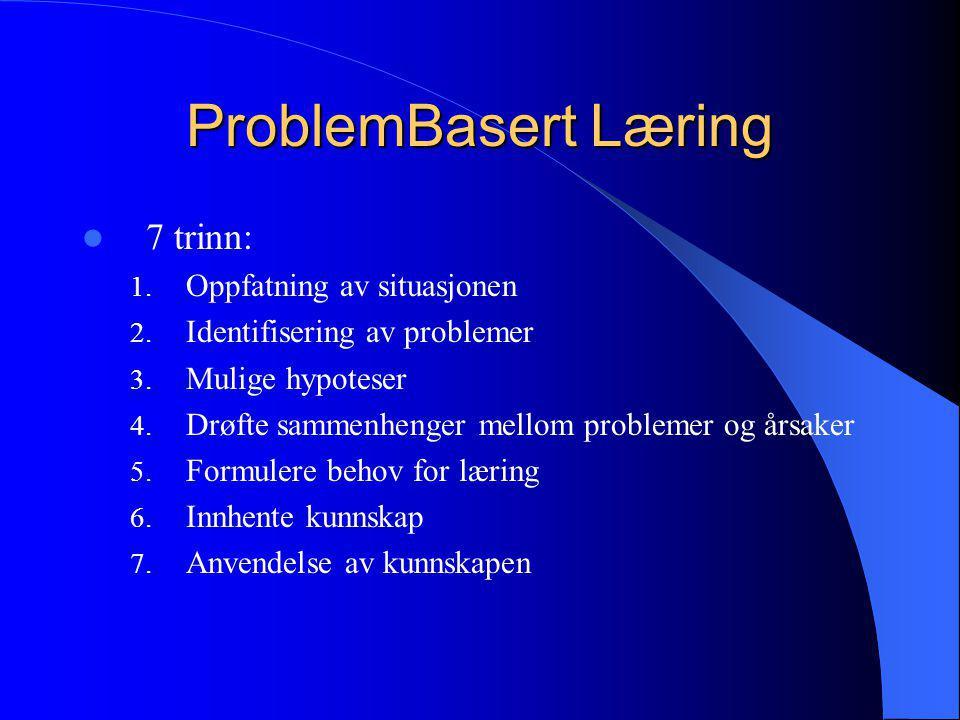 ProblemBasert Læring  7 trinn: 1. Oppfatning av situasjonen 2. Identifisering av problemer 3. Mulige hypoteser 4. Drøfte sammenhenger mellom probleme
