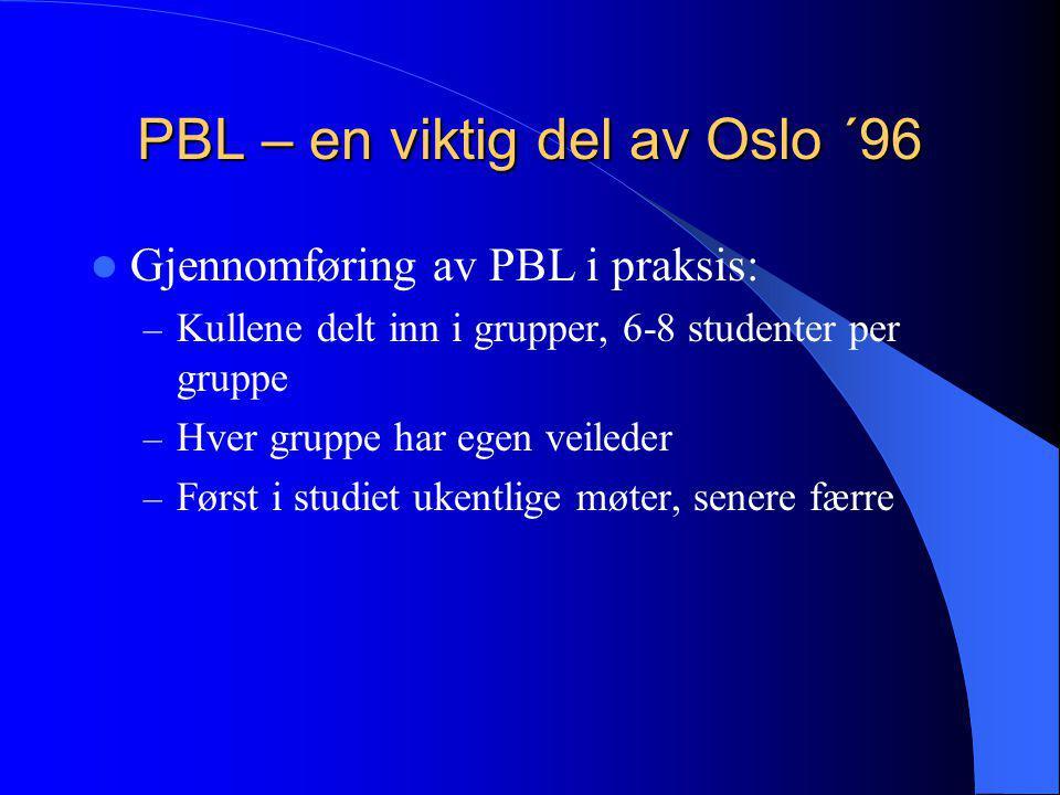 PBL – en viktig del av Oslo ´96  Gjennomføring av PBL i praksis: – Kullene delt inn i grupper, 6-8 studenter per gruppe – Hver gruppe har egen veiled