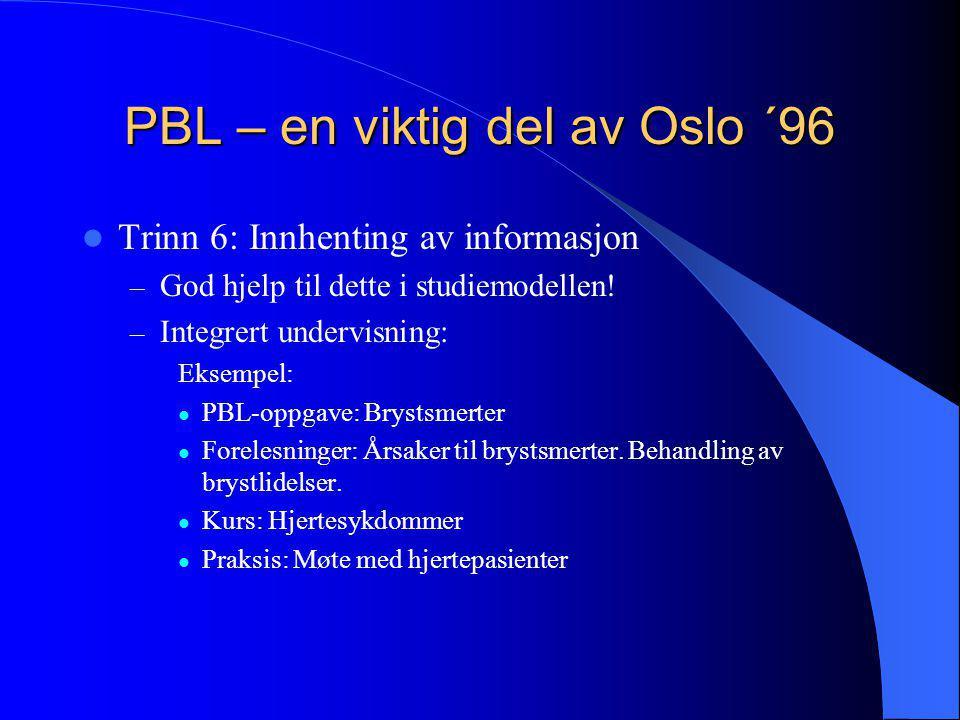 PBL – en viktig del av Oslo ´96  Trinn 6: Innhenting av informasjon – God hjelp til dette i studiemodellen! – Integrert undervisning: Eksempel:  PBL