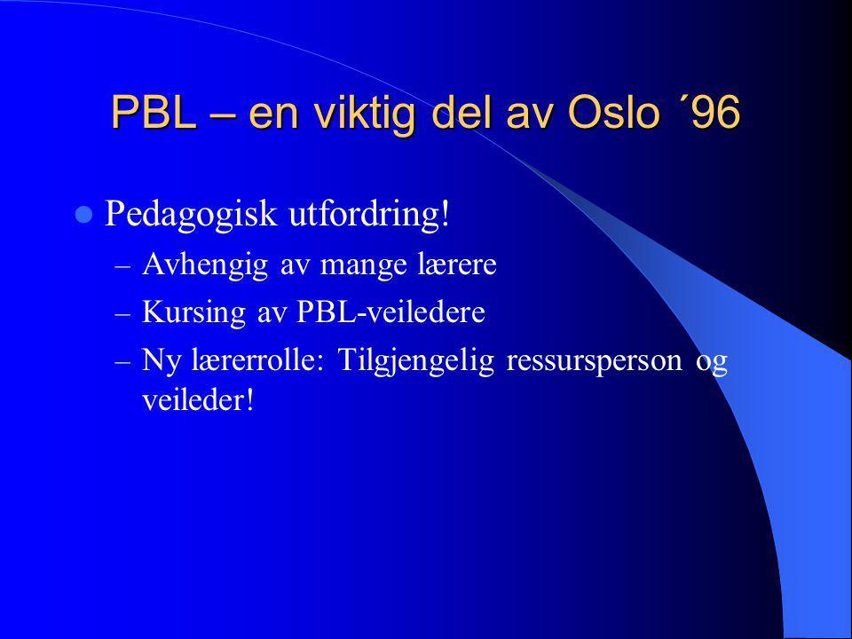 PBL – en viktig del av Oslo ´96  Pedagogisk utfordring! – Avhengig av mange lærere – Kursing av PBL-veiledere – Ny lærerrolle: Tilgjengelig ressurspe