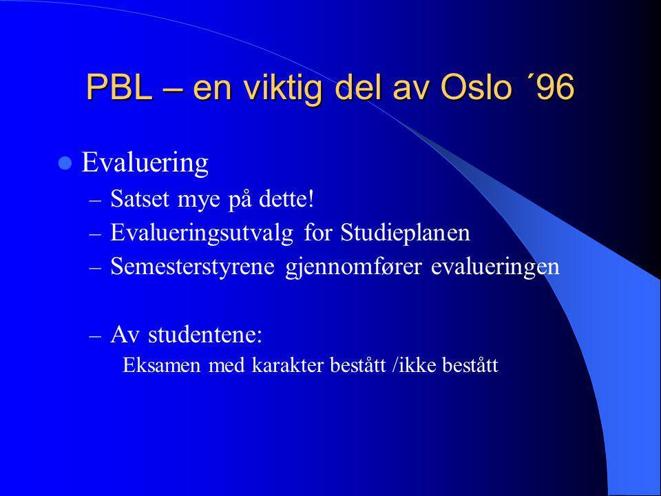 PBL – en viktig del av Oslo ´96  Evaluering – Satset mye på dette! – Evalueringsutvalg for Studieplanen – Semesterstyrene gjennomfører evalueringen –