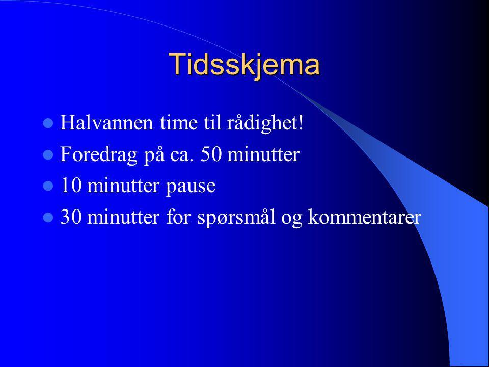 Tidsskjema  Halvannen time til rådighet!  Foredrag på ca. 50 minutter  10 minutter pause  30 minutter for spørsmål og kommentarer
