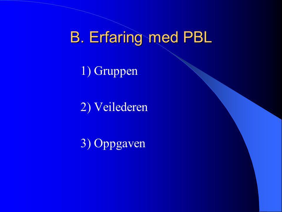 B. Erfaring med PBL 1) Gruppen 2) Veilederen 3) Oppgaven