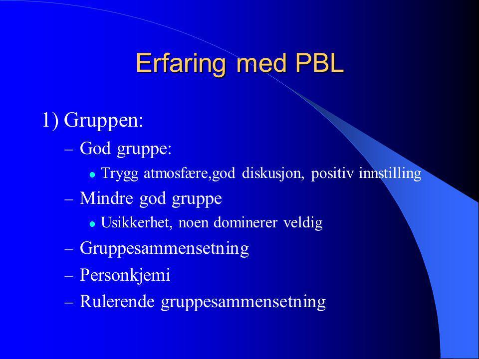 Erfaring med PBL 1) Gruppen: – God gruppe:  Trygg atmosfære,god diskusjon, positiv innstilling – Mindre god gruppe  Usikkerhet, noen dominerer veldi