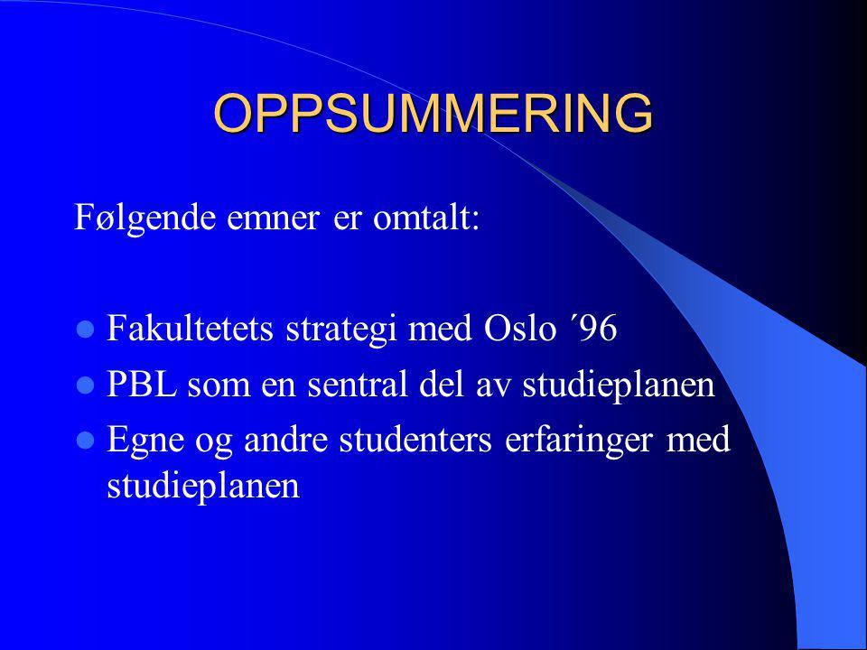 OPPSUMMERING Følgende emner er omtalt:  Fakultetets strategi med Oslo ´96  PBL som en sentral del av studieplanen  Egne og andre studenters erfarin