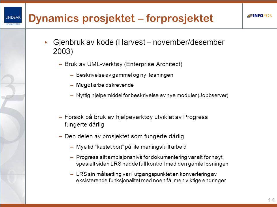 14 Dynamics prosjektet – forprosjektet • Gjenbruk av kode (Harvest – november/desember 2003) –Bruk av UML-verktøy (Enterprise Architect) –Beskrivelse av gammel og ny løsningen –Meget arbeidskrevende –Nyttig hjelpemiddel for beskrivelse av nye moduler (Jobbserver) –Forsøk på bruk av hjelpeverktøy utviklet av Progress fungerte dårlig –Den delen av prosjektet som fungerte dårlig –Mye tid kastet bort på lite meningsfullt arbeid –Progress sitt ambisjonsnivå for dokumentering var alt for høyt, spesielt siden LRS hadde full kontroll med den gamle løsningen –LRS sin målsetting var i utgangspunktet en konvertering av eksisterende funksjonalitet med noen få, men viktige endringer