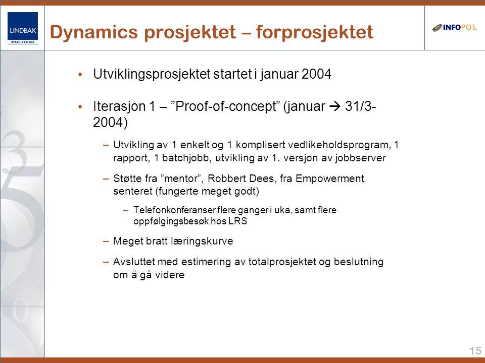 15 Dynamics prosjektet – forprosjektet • Utviklingsprosjektet startet i januar 2004 • Iterasjon 1 – Proof-of-concept (januar  31/3- 2004) –Utvikling av 1 enkelt og 1 komplisert vedlikeholdsprogram, 1 rapport, 1 batchjobb, utvikling av 1.