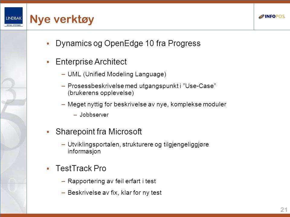 21 Nye verktøy • Dynamics og OpenEdge 10 fra Progress • Enterprise Architect –UML (Unified Modeling Language) –Prosessbeskrivelse med utgangspunkt i Use-Case (brukerens opplevelse) –Meget nyttig for beskrivelse av nye, komplekse moduler –Jobbserver • Sharepoint fra Microsoft –Utviklingsportalen, strukturere og tilgjengeliggjøre informasjon • TestTrack Pro –Rapportering av feil erfart i test –Beskrivelse av fix, klar for ny test