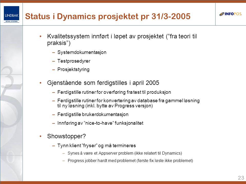 23 Status i Dynamics prosjektet pr 31/3-2005 • Kvalitetssystem innført i løpet av prosjektet ( fra teori til praksis ) –Systemdokumentasjon –Testprosedyrer –Prosjektstyring • Gjenstående som ferdigstilles i april 2005 –Ferdigstille rutiner for overføring fra test til produksjon –Ferdigstille rutiner for konvertering av database fra gammel løsning til ny løsning (inkl.