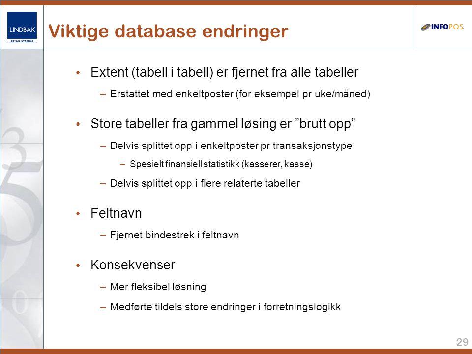 29 Viktige database endringer • Extent (tabell i tabell) er fjernet fra alle tabeller –Erstattet med enkeltposter (for eksempel pr uke/måned) • Store tabeller fra gammel løsing er brutt opp –Delvis splittet opp i enkeltposter pr transaksjonstype –Spesielt finansiell statistikk (kasserer, kasse) –Delvis splittet opp i flere relaterte tabeller • Feltnavn –Fjernet bindestrek i feltnavn • Konsekvenser –Mer fleksibel løsning –Medførte tildels store endringer i forretningslogikk