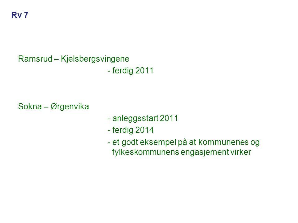 Ramsrud – Kjelsbergsvingene - ferdig 2011 Sokna – Ørgenvika - anleggsstart 2011 - ferdig 2014 - et godt eksempel på at kommunenes og fylkeskommunens e