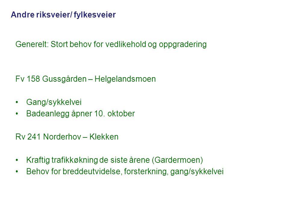 Generelt: Stort behov for vedlikehold og oppgradering Fv 158 Gussgården – Helgelandsmoen •Gang/sykkelvei •Badeanlegg åpner 10. oktober Rv 241 Norderho