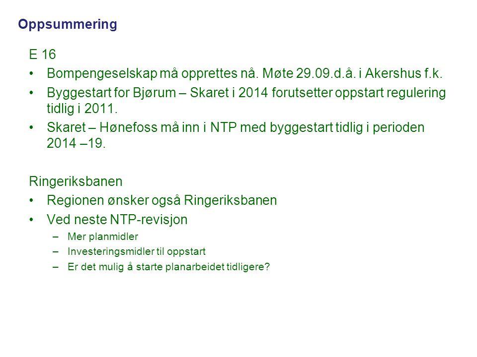E 16 •Bompengeselskap må opprettes nå. Møte 29.09.d.å. i Akershus f.k. •Byggestart for Bjørum – Skaret i 2014 forutsetter oppstart regulering tidlig i