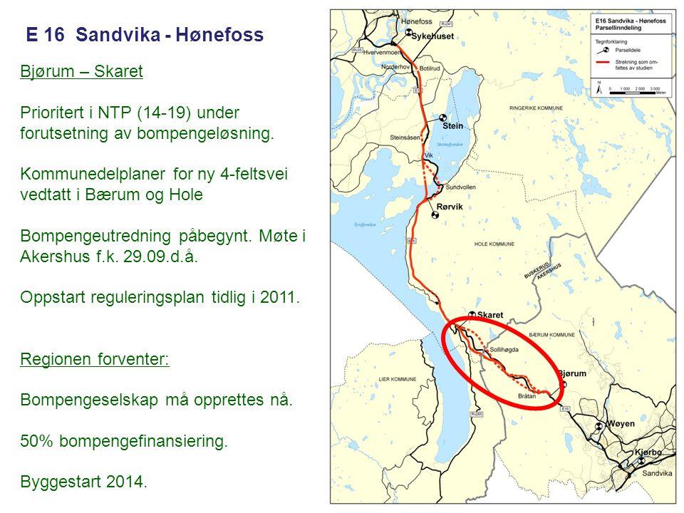 E 16 Sandvika - Hønefoss Bjørum – Skaret Prioritert i NTP (14-19) under forutsetning av bompengeløsning. Kommunedelplaner for ny 4-feltsvei vedtatt i