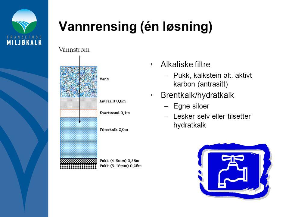 Vannrensing (én løsning) •Alkaliske filtre –Pukk, kalkstein alt. aktivt karbon (antrasitt) •Brentkalk/hydratkalk –Egne siloer –Lesker selv eller tilse