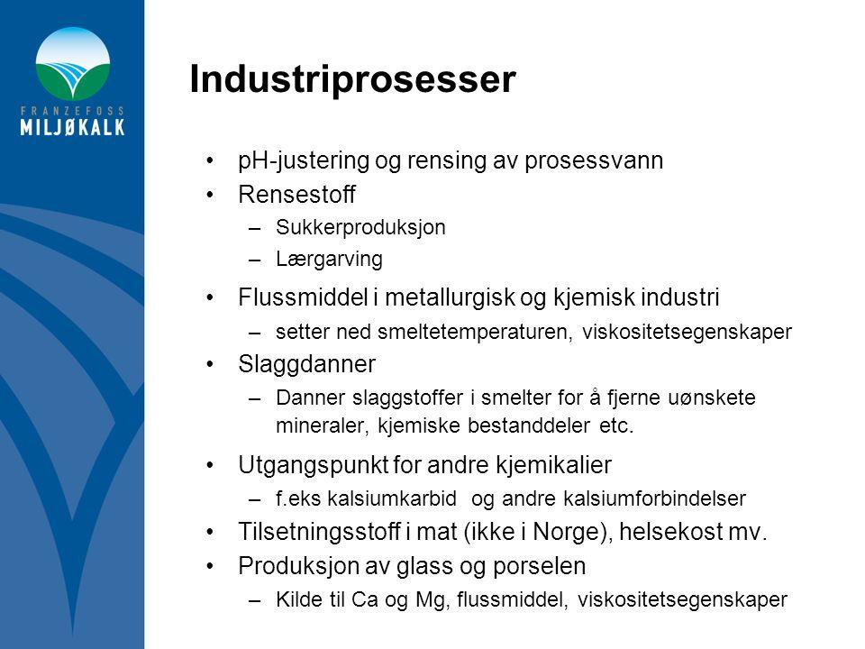 Industriprosesser •pH-justering og rensing av prosessvann •Rensestoff –Sukkerproduksjon –Lærgarving •Flussmiddel i metallurgisk og kjemisk industri –s